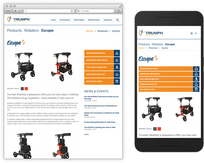 Triumph Mobility Product Page